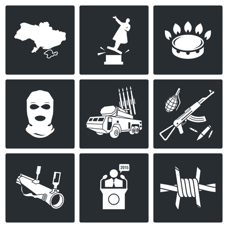 overthrow: military Vector Isolated Flat Icons collection on a black background