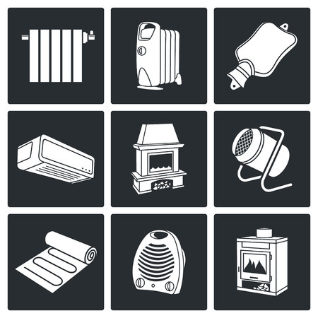 thermal equipment Vector Isolated Flat Icons collection on a black background Vector