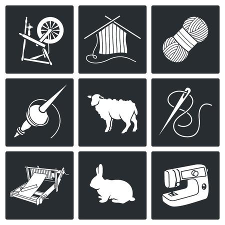 Hand Vector Isolierte Flach Icons Sammlung auf einem weißen Hintergrund Vektorgrafik