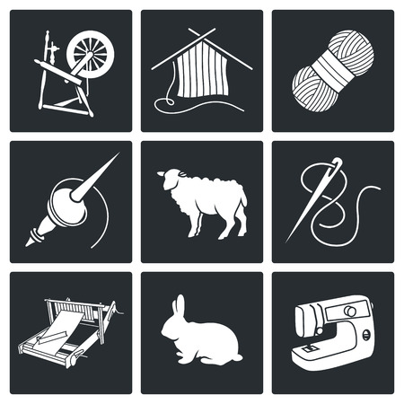 sheep wool: needlework Vector Isolated Flat Icons collection on a white background
