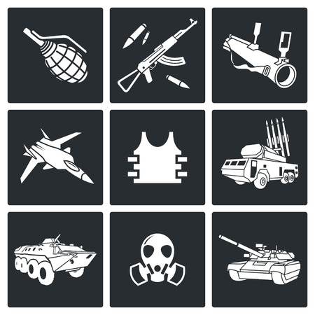 offensive: Vector Isolated Flat Icons collection on a black background Illustration
