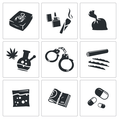 opium: Illegal drugs vector icon collection on a white background