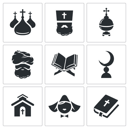 pilgrimage: Religion Icon collection on a white background