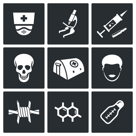 Vector Isolated Flat Icons collection on a black background Vector