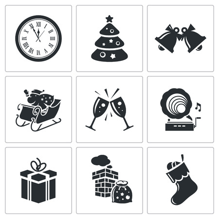 Set of nine white new year isolated icons Vector