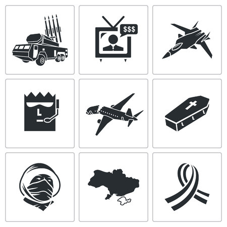 separatism: Vector Isolated Flat Icons collection on a white background Illustration