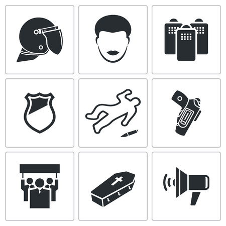 times square: Vector Isolated Flat Icons collection on a white background Illustration