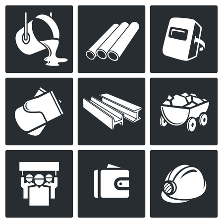 Metallurgy Icon collection on a black background