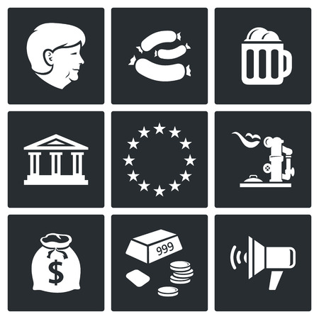 fascism: Germany icon collection on a black background Illustration