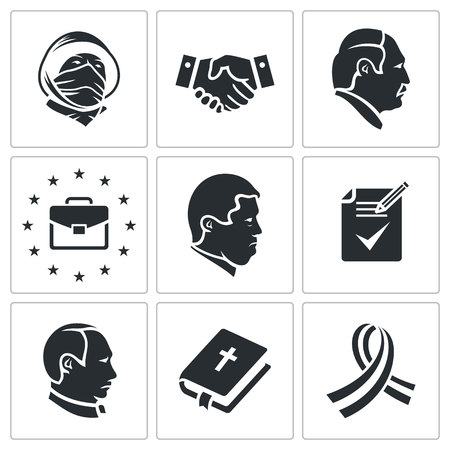 slavs: political agreements Icon flat collection isolated on a white background