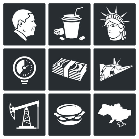 regime: America Icon flat collection isolated on a black background Illustration