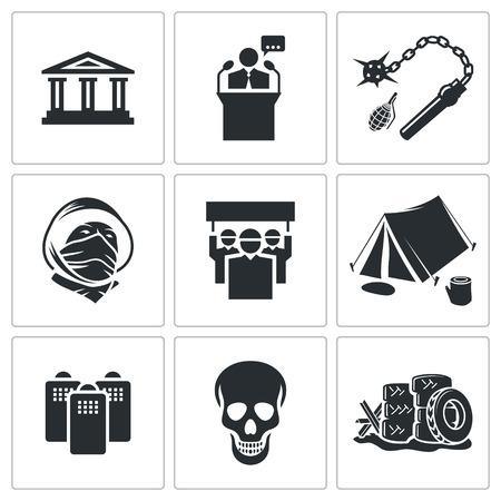 dictature: d�monstration collection d'ic�nes sur un fond blanc Illustration