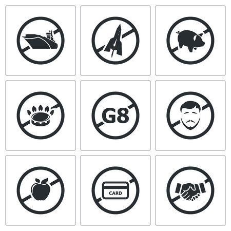 fleet: sanctions pressure on Russia Icon flat collection isolated on a white background Illustration
