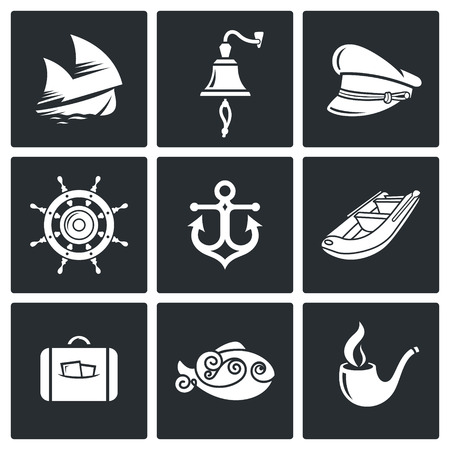 mooring anchor: sailing Icon flat collection isolated on a black background Illustration