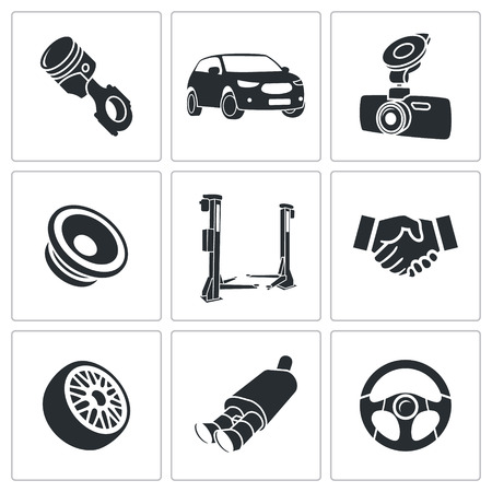 Car service icons collection on a white background