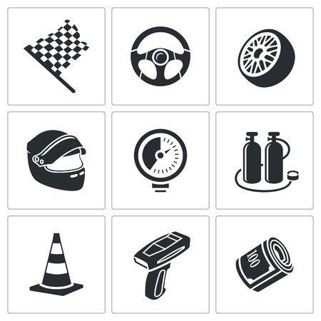 nitro: Racing Icon collection isolated on a white background Illustration