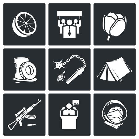 bestechung: Stra�e Streik Icon-Sammlung auf einem schwarzen Hintergrund Illustration