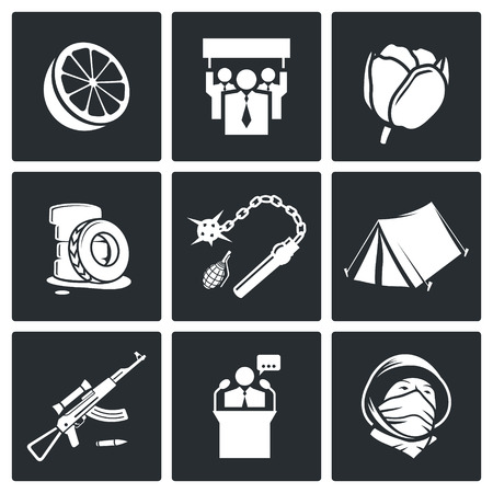 sabotage: street strike Icon collection isolated on a black background Illustration