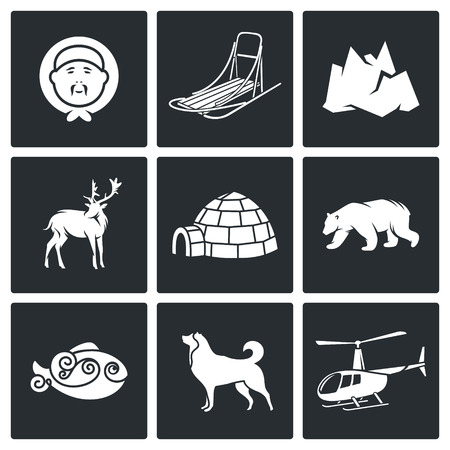 Chukchi Vector Isolated Flat Icons collection on a black background