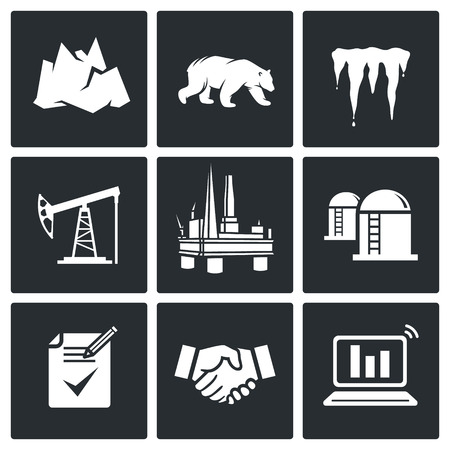 monopoly: Oil drilling in the permafrost Icon flat collection isolated on a black background