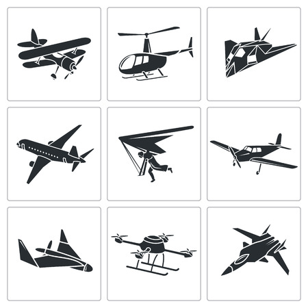 monoplane: airplane icons set Isolated Flat Icons collection on a white background Illustration