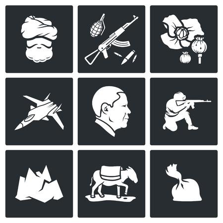 kalashnikov: Vector Isolated Flat Icons Set on a black background
