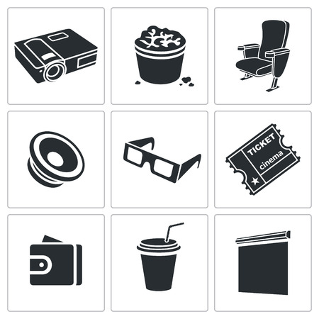 premiere: Premiere Vector Isolated Flat Icons collection on a white background
