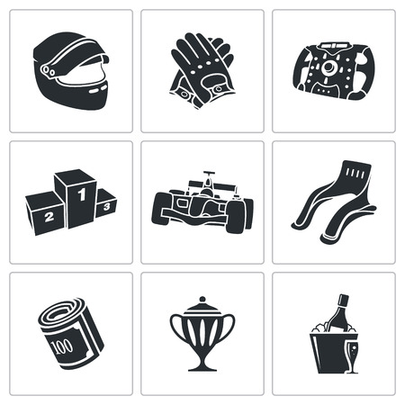 car race: Rally Vector Isolated Flat Icons collection on a white background Illustration