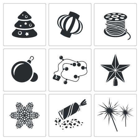 party poppers: Christmas decorations Vector Isolated Flat Icons collection on a white background Illustration