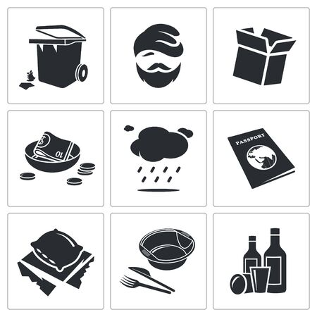 roofless: roofless Vector Isolated Flat Icons collection on a white background
