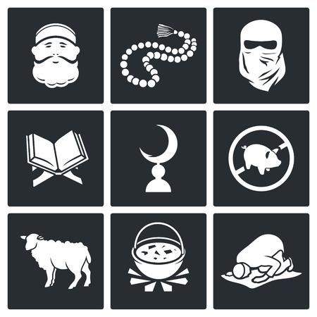 arrepentimiento: Vector aislados Iconos planos Conjunto sobre un fondo negro