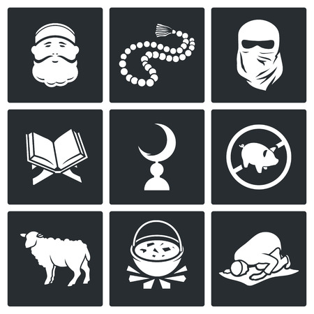 Vector Isolated Flat Icons Set on a black background
