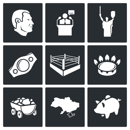 mayor: Ukraine Vector Isolated Flat Icons collection on a black background Illustration