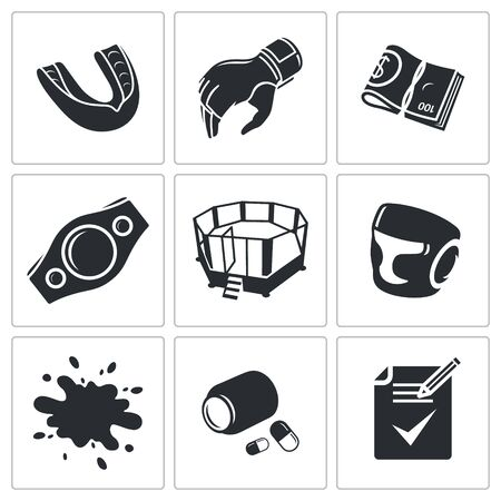 mix fighting: Male cruel sport Vector Isolated Flat Icons collection on a white background