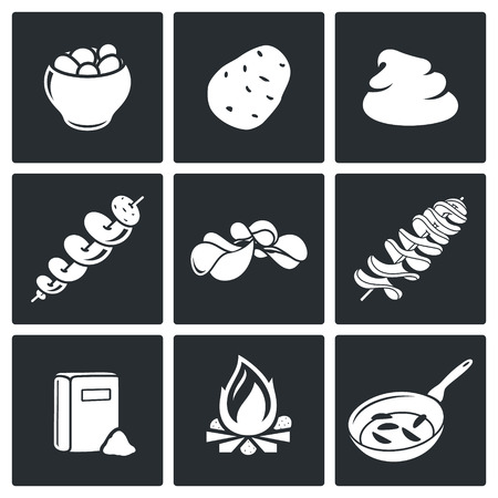baked potatoes: potato Vector Isolated Flat Icons collection on a black background