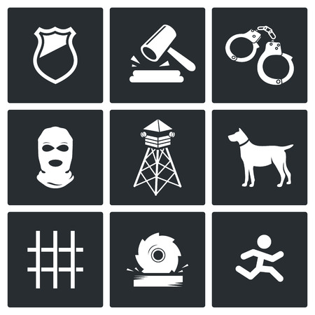 detention: Prison Vector Isolated Flat Icons collection on a black background