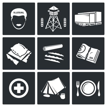 migraci�n: gente migraci�n Vector Aislado colecci�n Flat iconos sobre un fondo negro