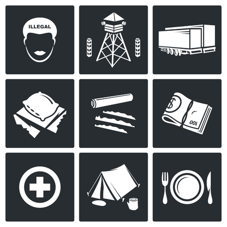 trafficking: people migration Vector Isolated Flat Icons collection on a black background