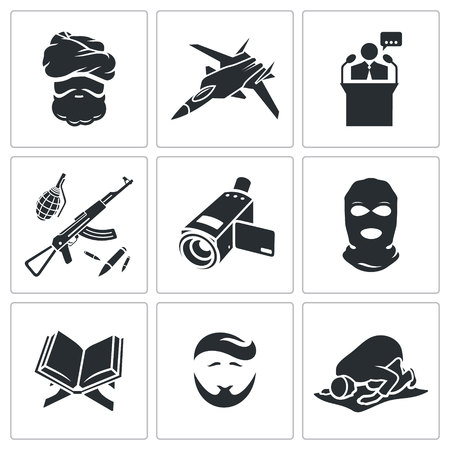 sheik: Crime  Vector Isolated Flat Icons collection on a white background