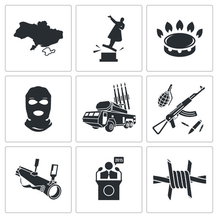 overthrow: military Vector Isolated Flat Icons collection on a white background Illustration