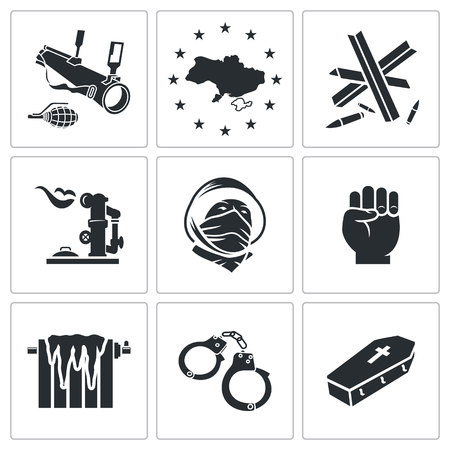 fall arrest: Ukraine Vector Isolated Flat Icons collection on a white background Illustration