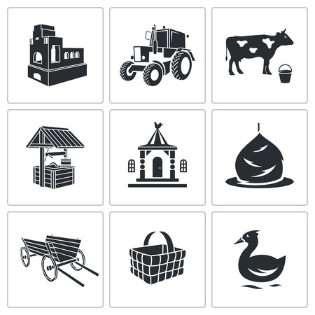 rural wooden bucket: Village Vector Isolated Flat Icons collection on a white background