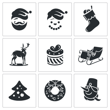 New Year Vector Isolated Flat Icons collection on a white background Vector