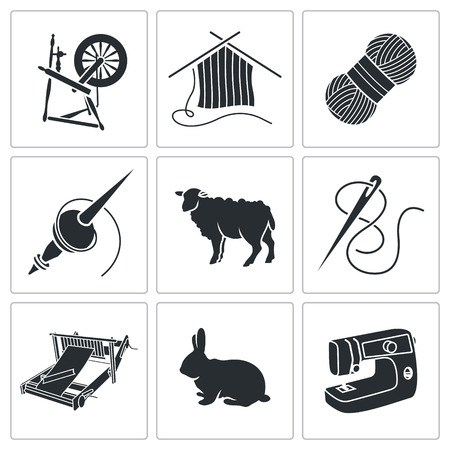 sheep wool: Vector Isolated Flat Icons collection on a white background Illustration