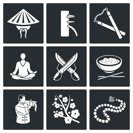 Vector Isolated Flat Icons collection on a black background Çizim