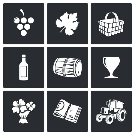 gürcü: Wine Vector Isolated Flat Icons collection on a black background