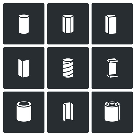 ferrous metals: Metal industry Vector Isolated Flat Icons collection on a black background