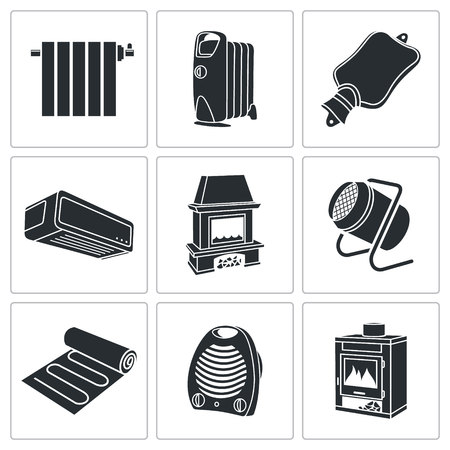 fireside: thermal equipment Vector Isolated Flat Icons collection on a white background