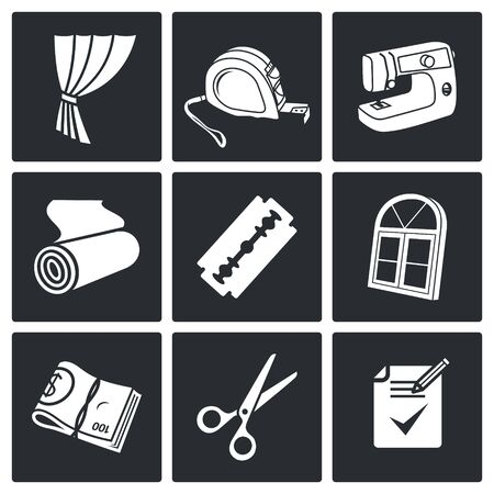 roll curtains: Sewing service Vector Isolated Flat Icons collection on a black background Illustration