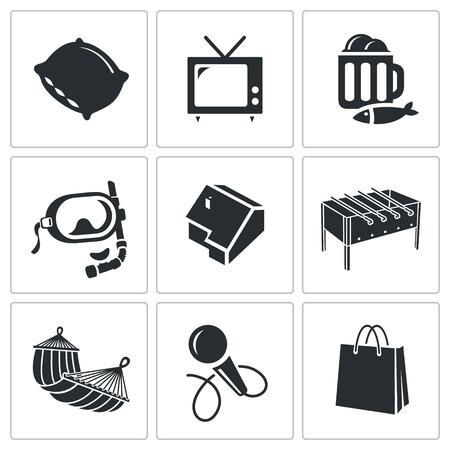 pastime: Pastime Vector Isolated Flat Icons collection on a white background Illustration